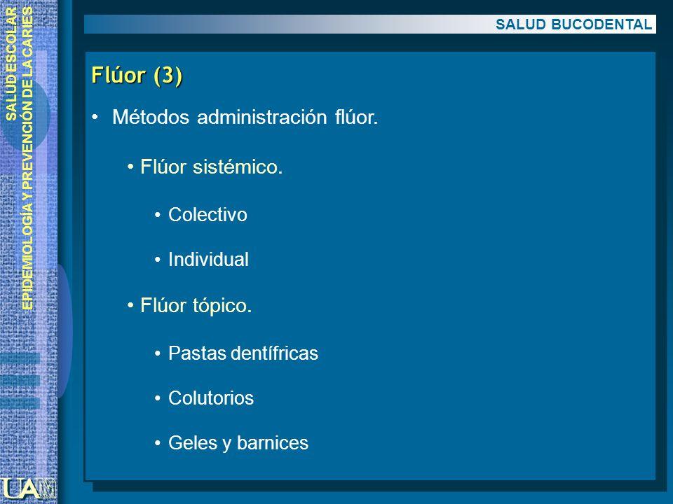 Flúor (3) Métodos administración flúor. Flúor sistémico. Flúor tópico.