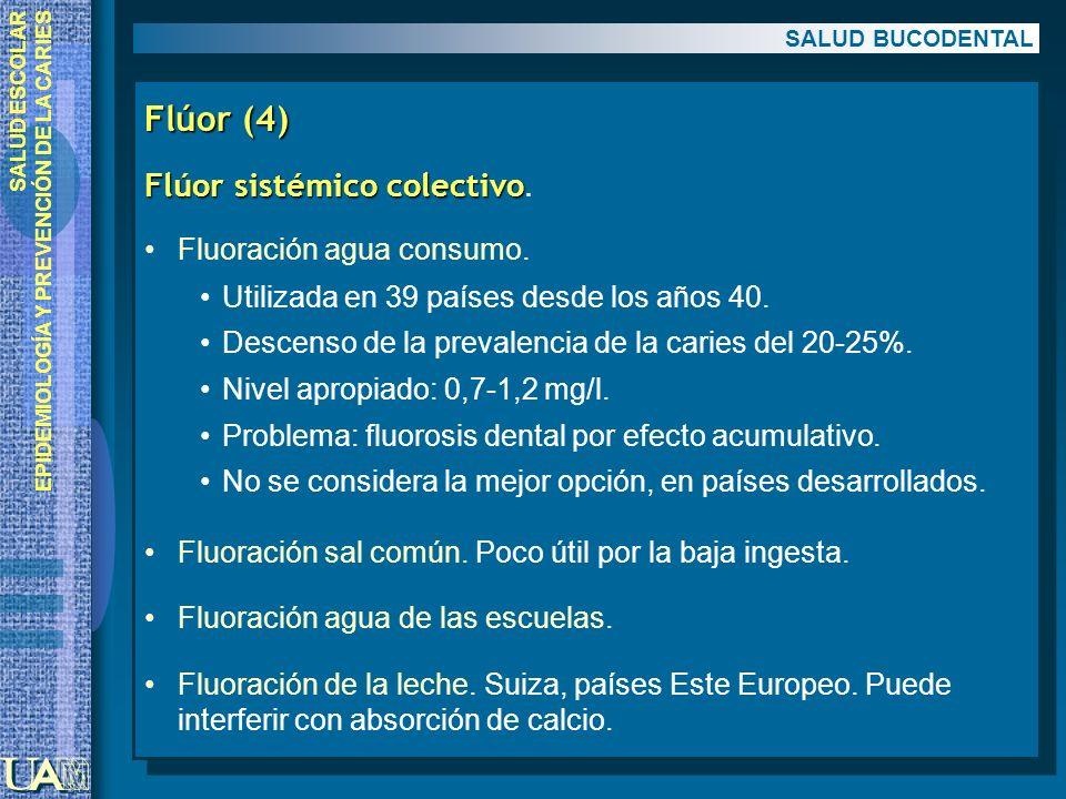 Flúor (4) Flúor sistémico colectivo. Fluoración agua consumo.