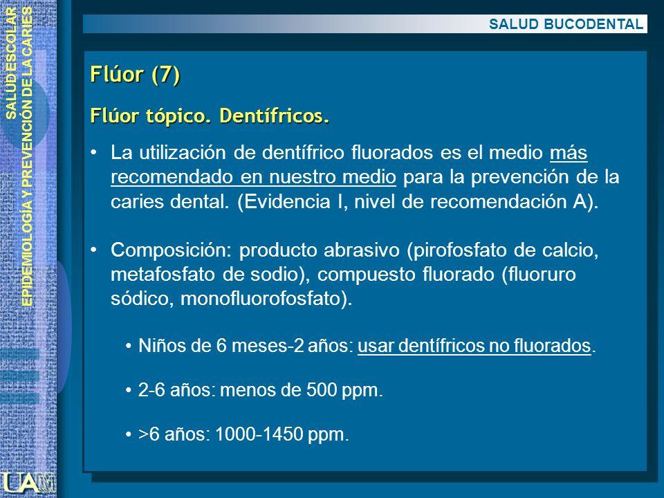 Flúor (7) Flúor tópico. Dentífricos.