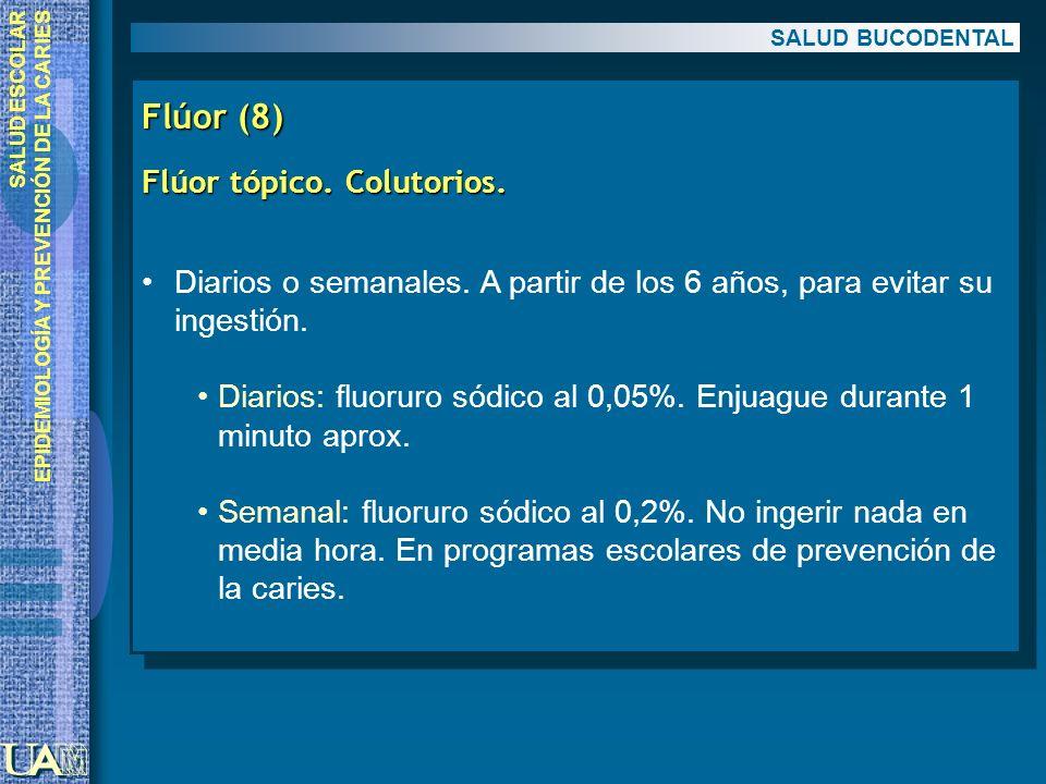 Flúor (8) Flúor tópico. Colutorios.