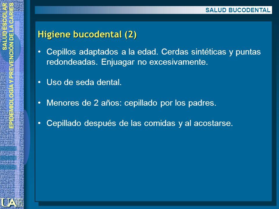 SALUD BUCODENTAL Higiene bucodental (2) Cepillos adaptados a la edad. Cerdas sintéticas y puntas redondeadas. Enjuagar no excesivamente.