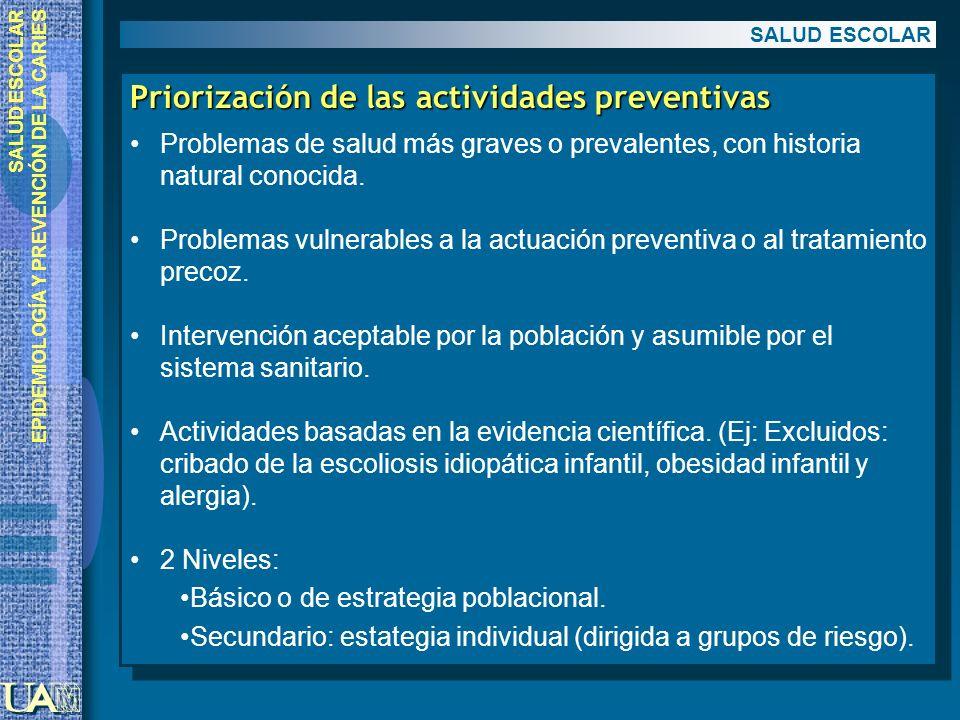 Priorización de las actividades preventivas
