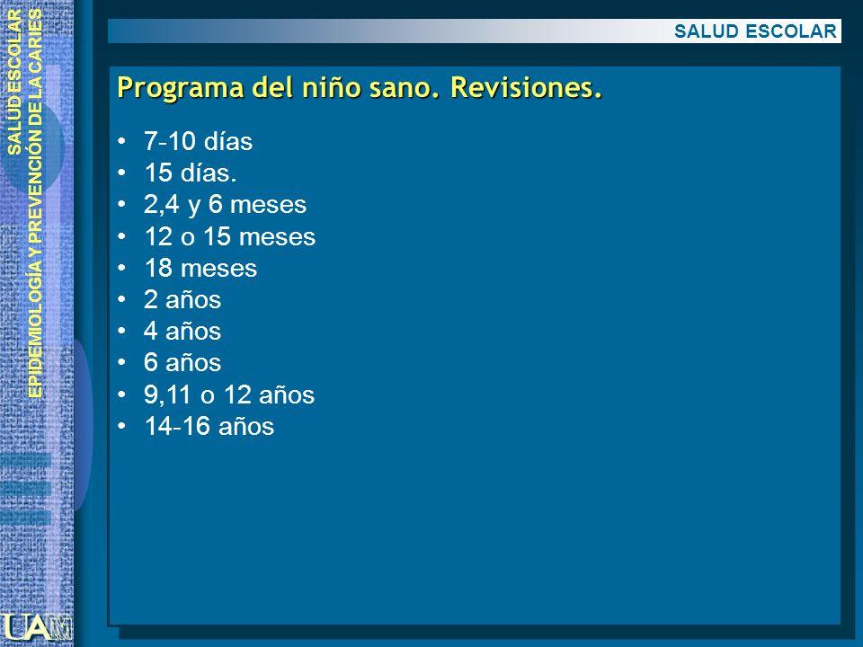 Programa del niño sano. Revisiones.