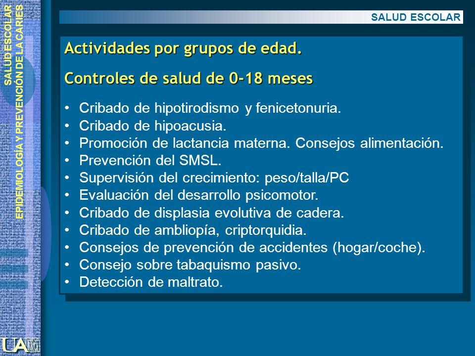 Actividades por grupos de edad. Controles de salud de 0-18 meses