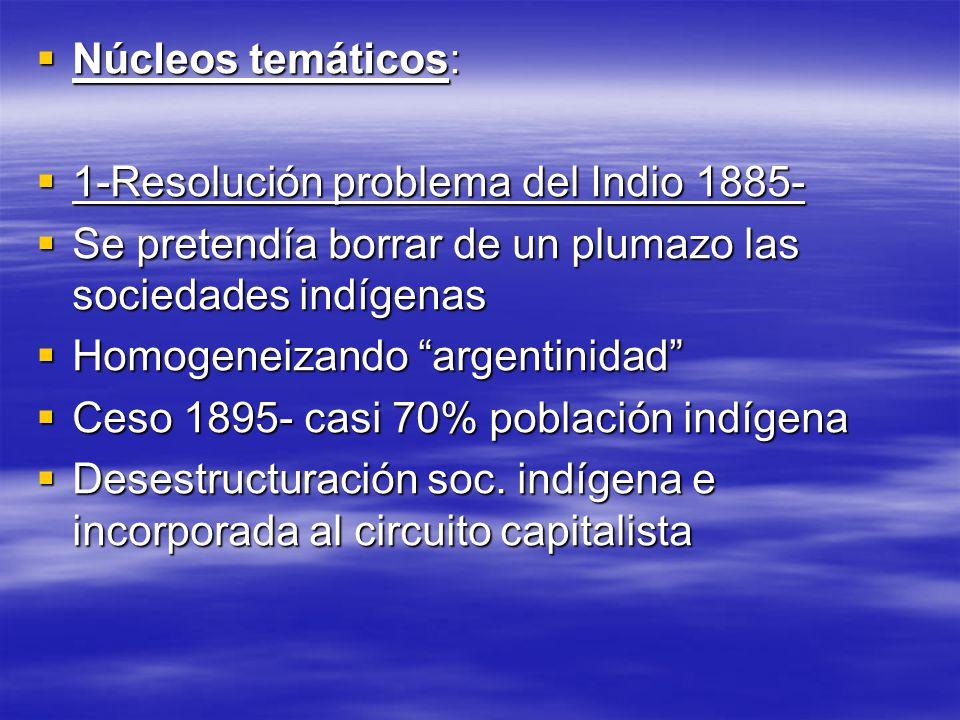 Núcleos temáticos: 1-Resolución problema del Indio 1885- Se pretendía borrar de un plumazo las sociedades indígenas.