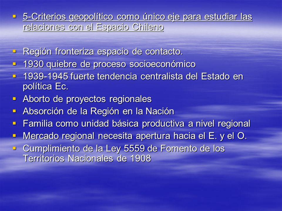 5-Criterios geopolítico como único eje para estudiar las relaciones con el Espacio Chileno