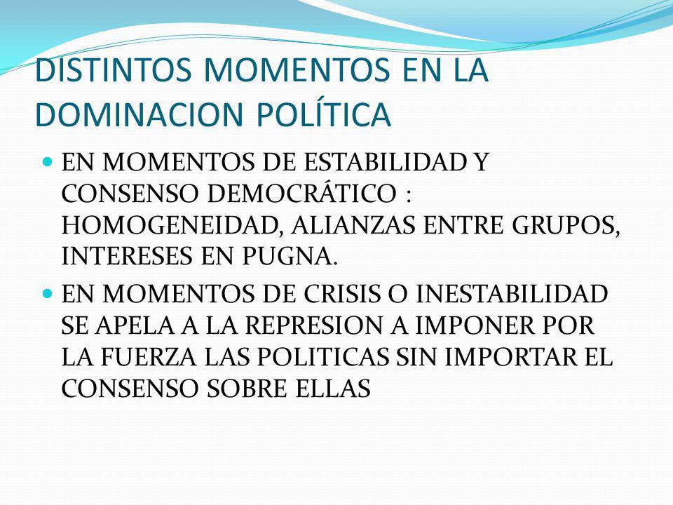 DISTINTOS MOMENTOS EN LA DOMINACION POLÍTICA