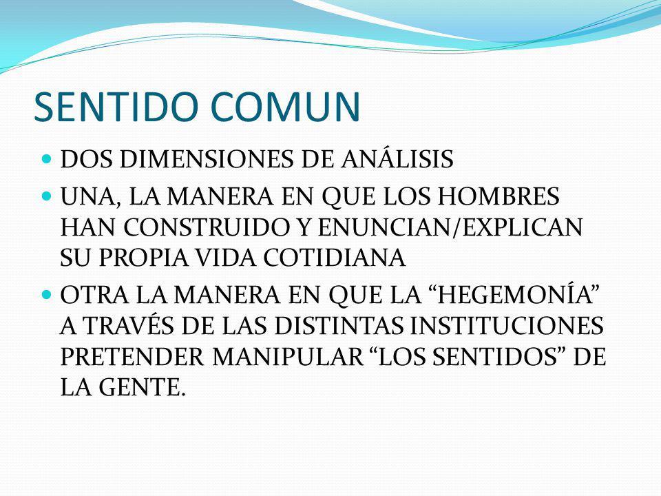 SENTIDO COMUN DOS DIMENSIONES DE ANÁLISIS