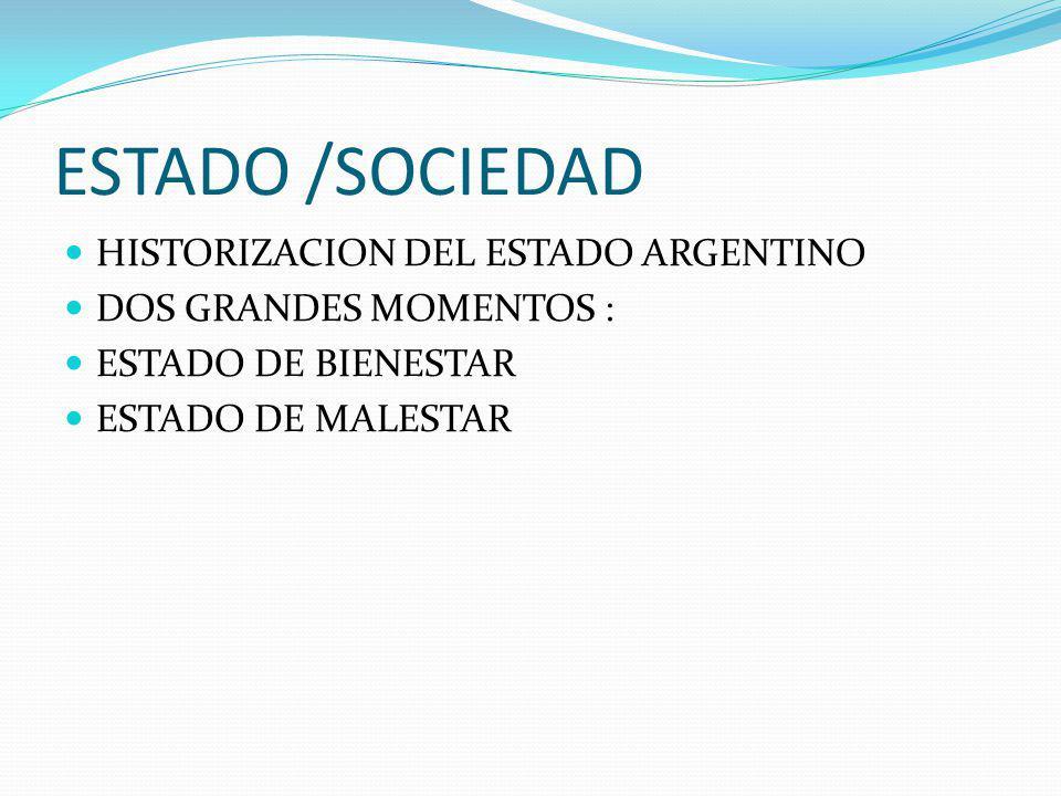 ESTADO /SOCIEDAD HISTORIZACION DEL ESTADO ARGENTINO