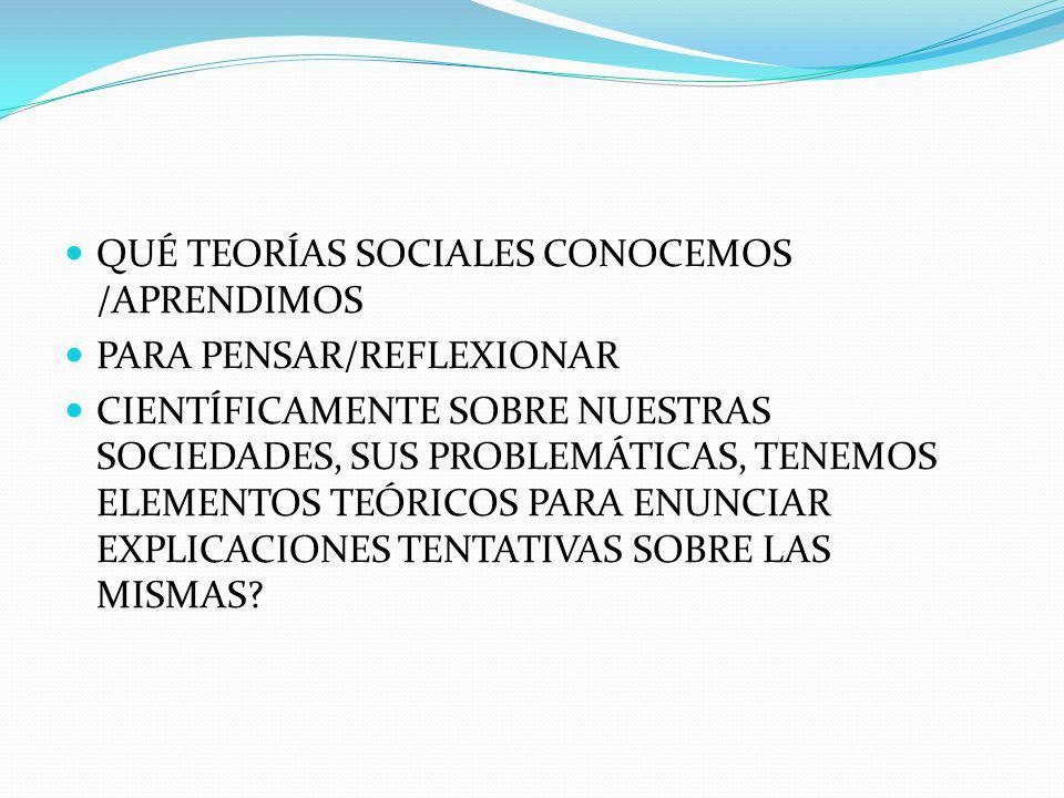 QUÉ TEORÍAS SOCIALES CONOCEMOS /APRENDIMOS
