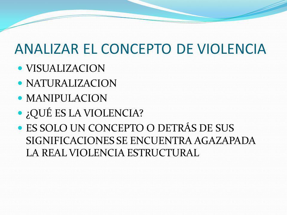 ANALIZAR EL CONCEPTO DE VIOLENCIA