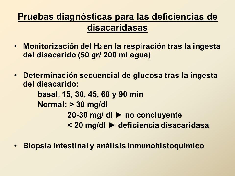 Pruebas diagnósticas para las deficiencias de disacaridasas