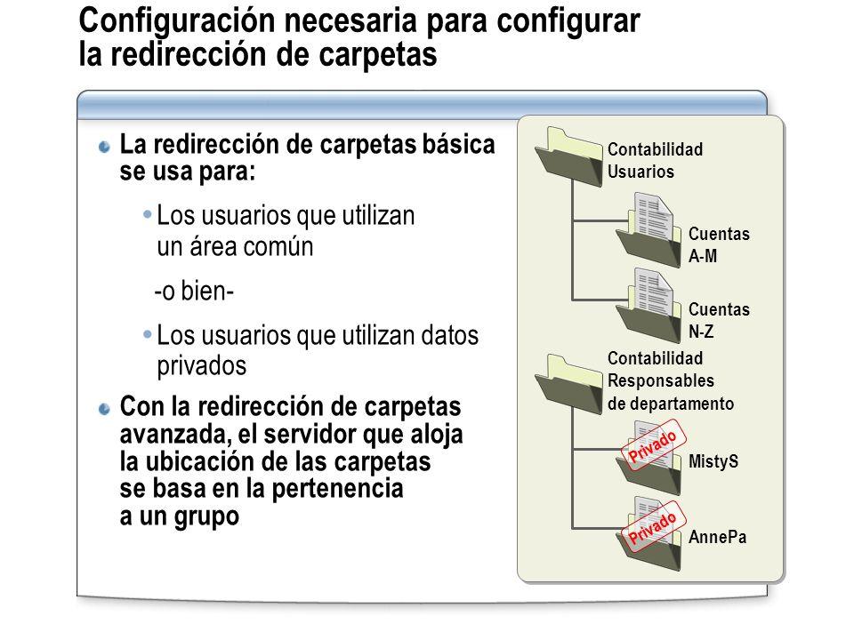 Configuración necesaria para configurar la redirección de carpetas