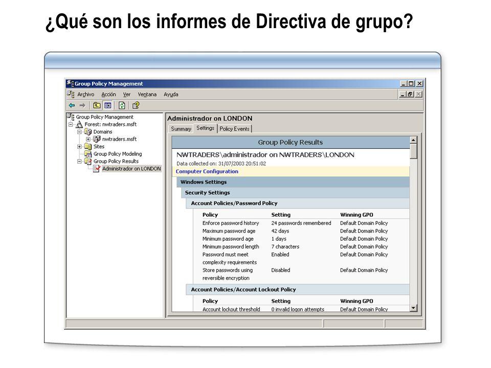 ¿Qué son los informes de Directiva de grupo