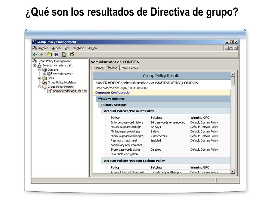 ¿Qué son los resultados de Directiva de grupo