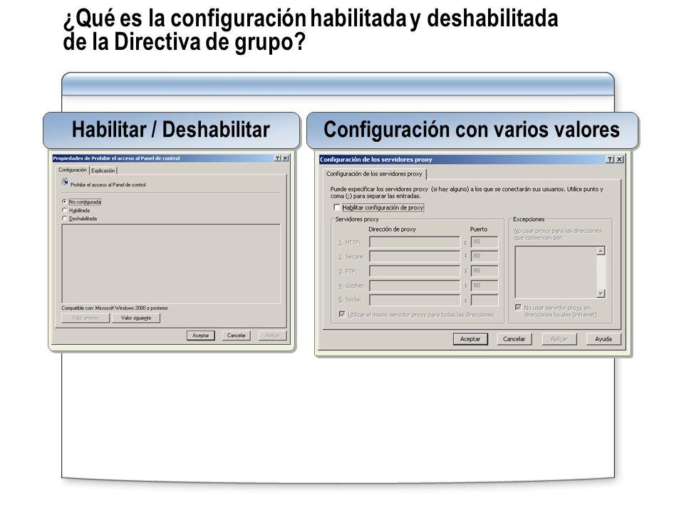 Habilitar / Deshabilitar Configuración con varios valores
