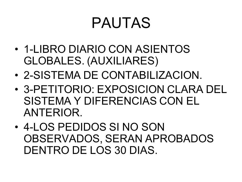 PAUTAS 1-LIBRO DIARIO CON ASIENTOS GLOBALES. (AUXILIARES)