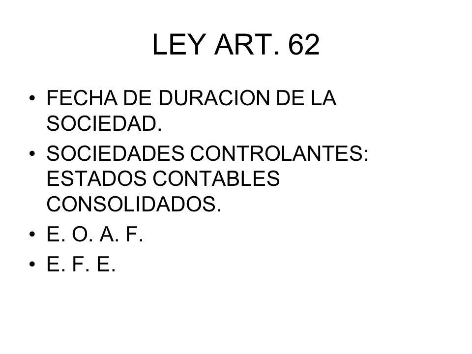 LEY ART. 62 FECHA DE DURACION DE LA SOCIEDAD.