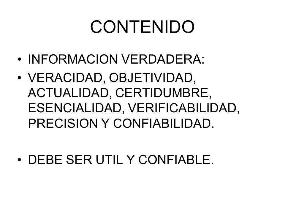 CONTENIDO INFORMACION VERDADERA: