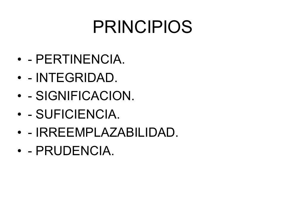 PRINCIPIOS - PERTINENCIA. - INTEGRIDAD. - SIGNIFICACION.