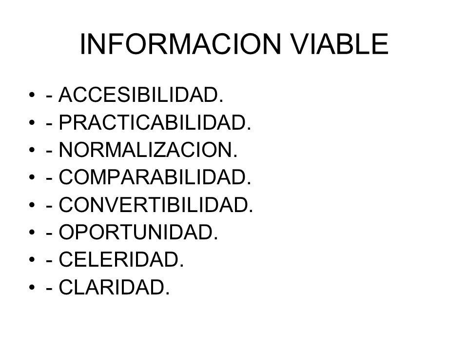 INFORMACION VIABLE - ACCESIBILIDAD. - PRACTICABILIDAD.