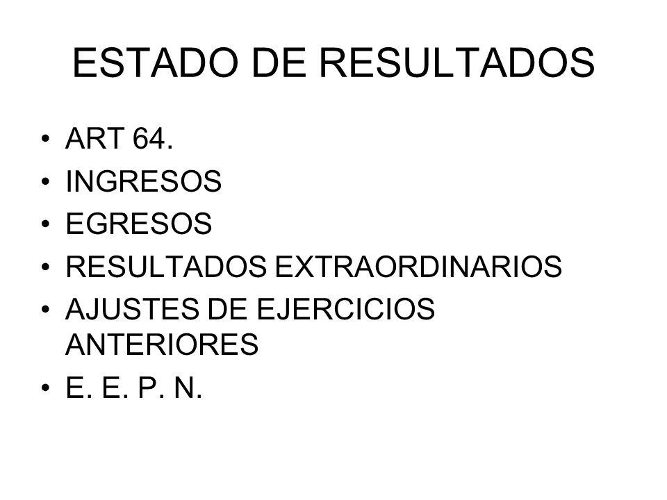 ESTADO DE RESULTADOS ART 64. INGRESOS EGRESOS