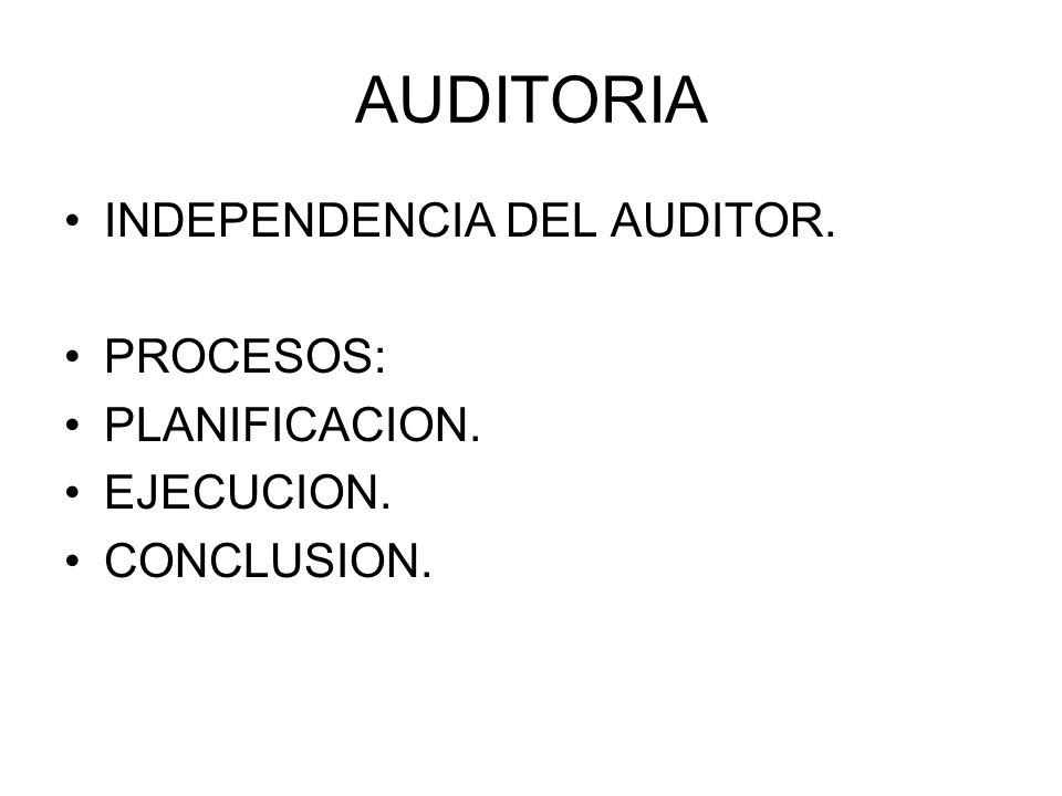 AUDITORIA INDEPENDENCIA DEL AUDITOR. PROCESOS: PLANIFICACION.