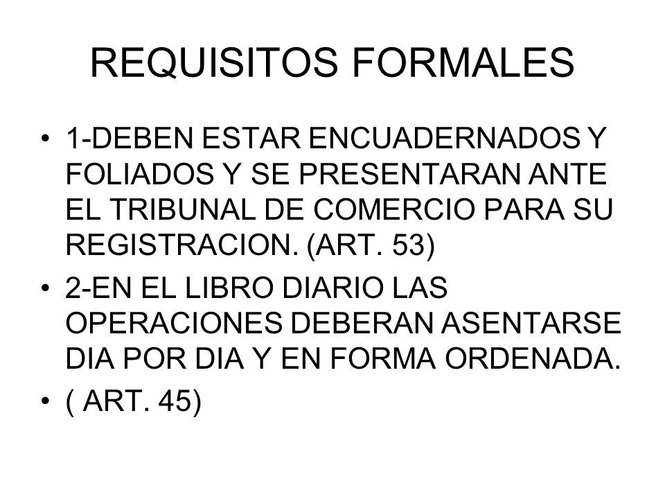 REQUISITOS FORMALES 1-DEBEN ESTAR ENCUADERNADOS Y FOLIADOS Y SE PRESENTARAN ANTE EL TRIBUNAL DE COMERCIO PARA SU REGISTRACION. (ART. 53)