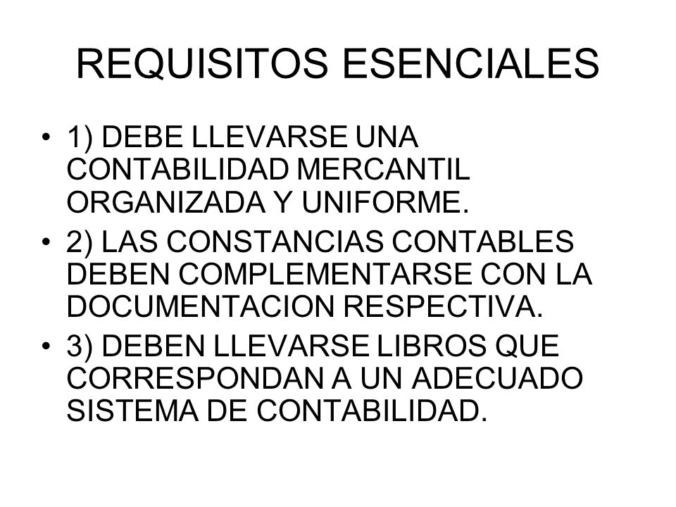 REQUISITOS ESENCIALES