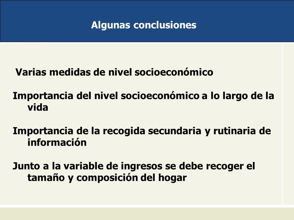 Algunas conclusiones Varias medidas de nivel socioeconómico. Importancia del nivel socioeconómico a lo largo de la vida.