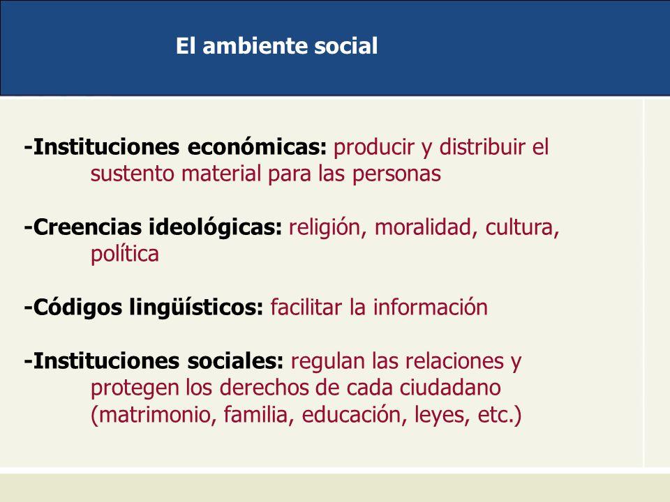 El ambiente social -Instituciones económicas: producir y distribuir el sustento material para las personas.