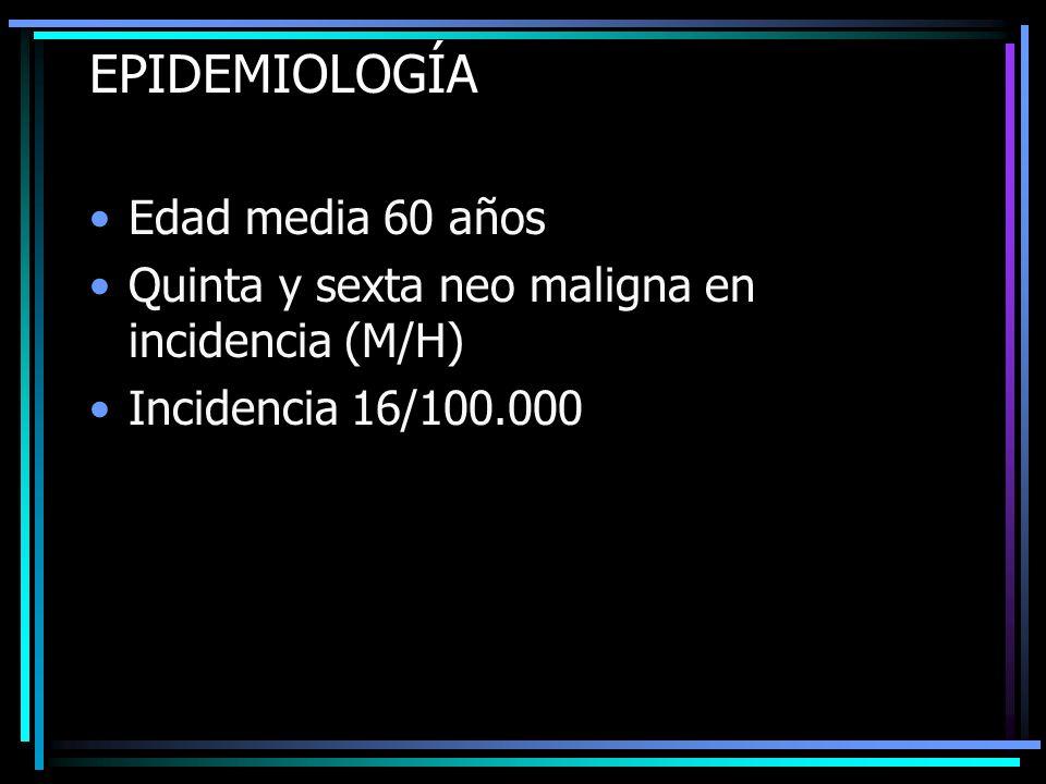 EPIDEMIOLOGÍA Edad media 60 años