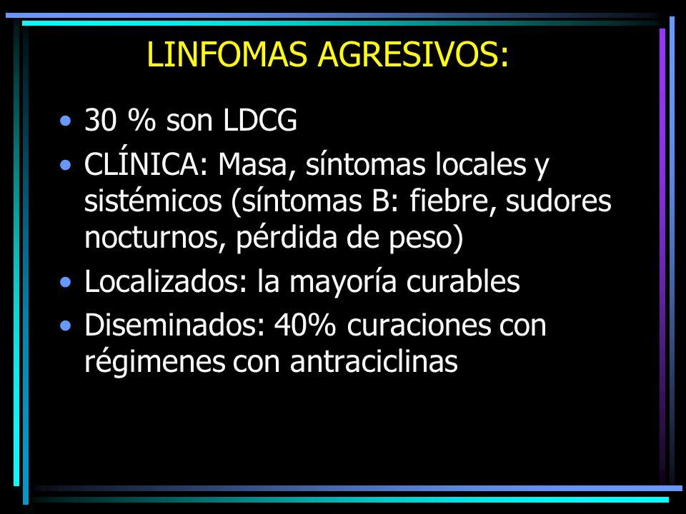 LINFOMAS AGRESIVOS: 30 % son LDCG