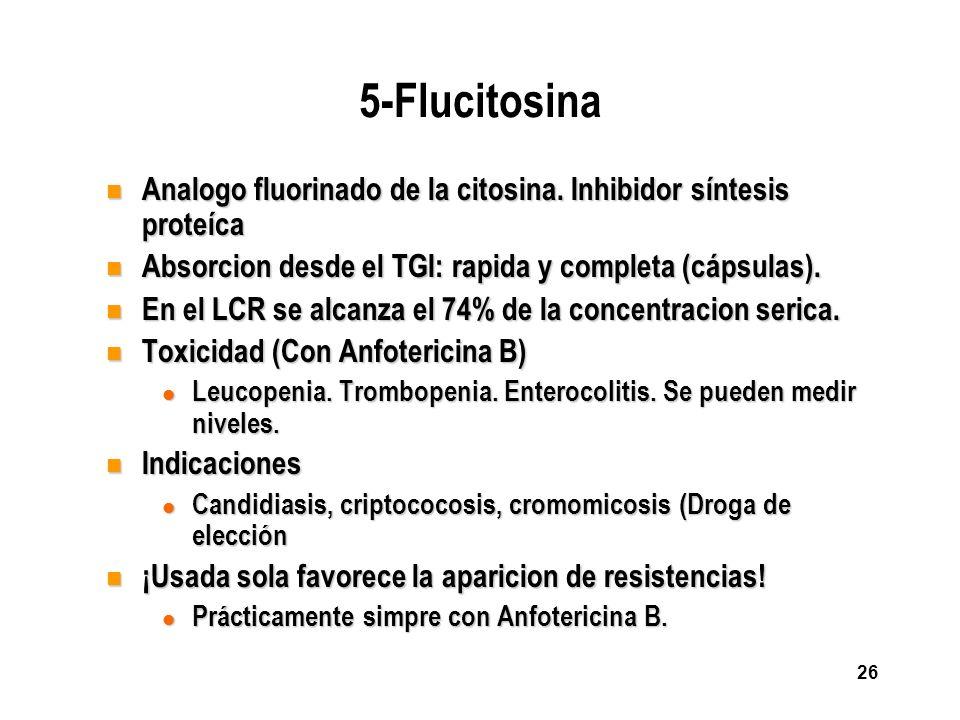 5-Flucitosina Analogo fluorinado de la citosina. Inhibidor síntesis proteíca. Absorcion desde el TGI: rapida y completa (cápsulas).