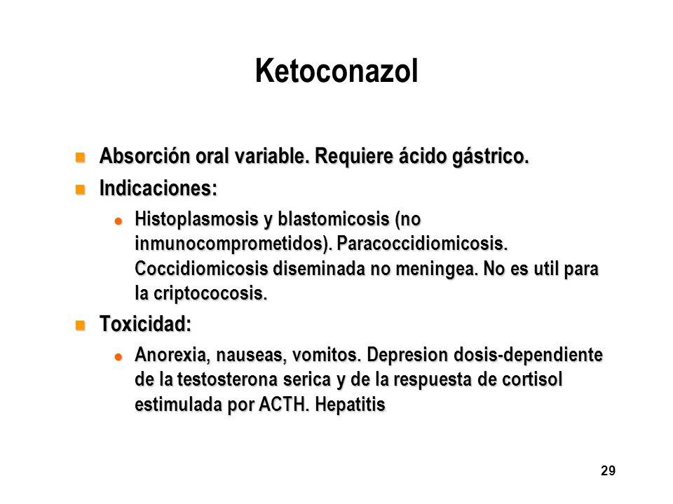 Ketoconazol Absorción oral variable. Requiere ácido gástrico.