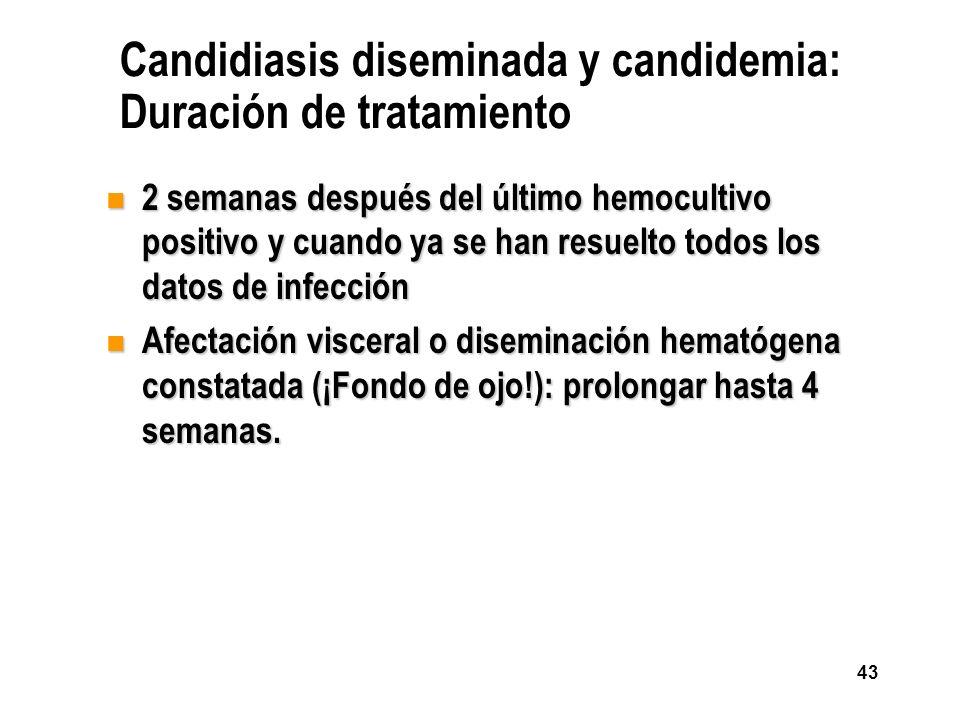 Candidiasis diseminada y candidemia: Duración de tratamiento