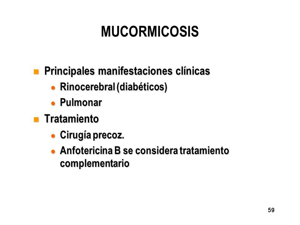 MUCORMICOSIS Principales manifestaciones clínicas Tratamiento