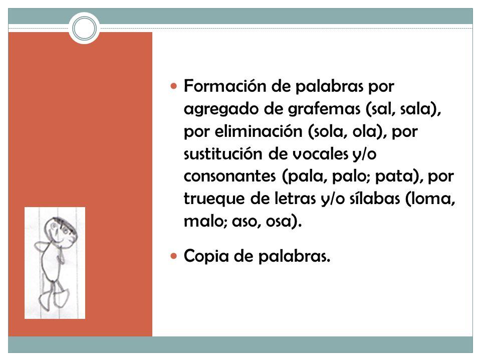 Formación de palabras por agregado de grafemas (sal, sala), por eliminación (sola, ola), por sustitución de vocales y/o consonantes (pala, palo; pata), por trueque de letras y/o sílabas (loma, malo; aso, osa).