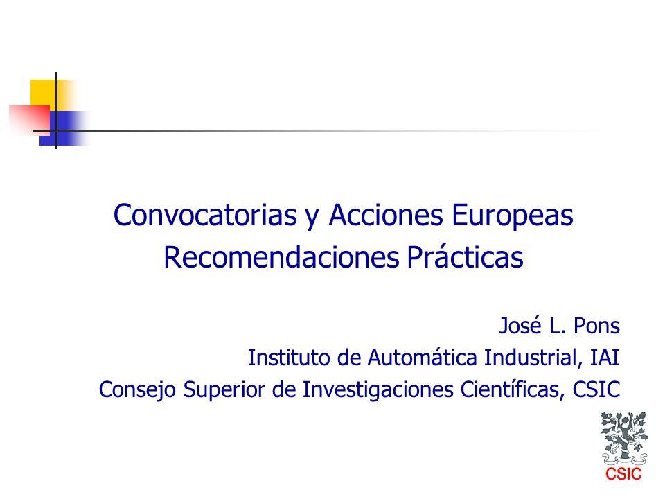 Convocatorias y Acciones Europeas Recomendaciones Prácticas