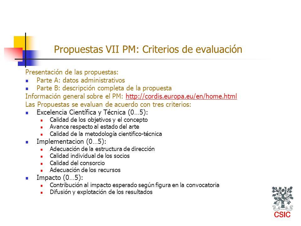 Propuestas VII PM: Criterios de evaluación