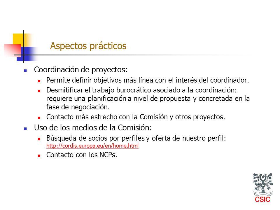 Aspectos prácticos Coordinación de proyectos: