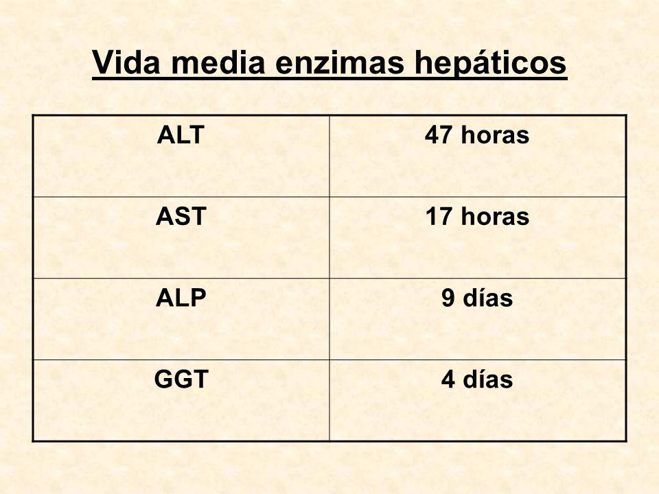Vida media enzimas hepáticos