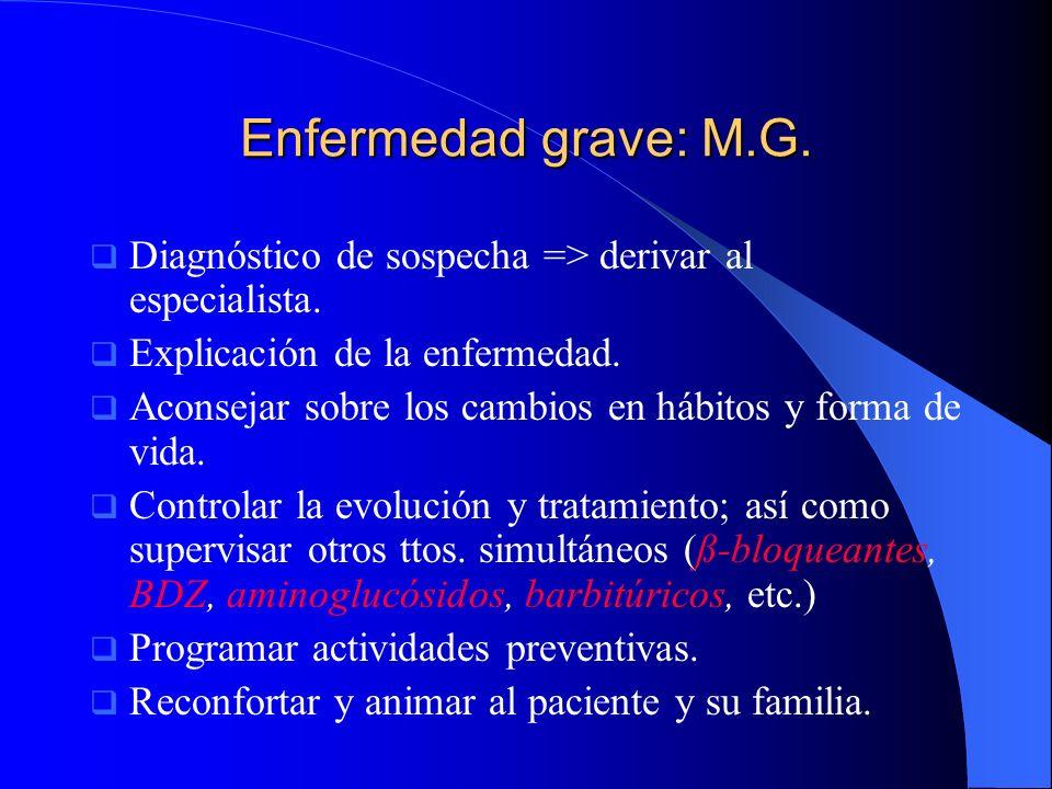 Enfermedad grave: M.G. Diagnóstico de sospecha => derivar al especialista. Explicación de la enfermedad.