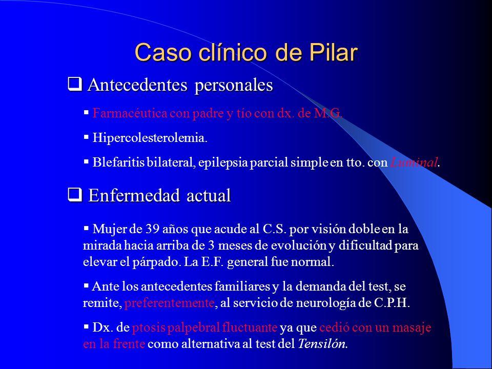 Caso clínico de Pilar Antecedentes personales Enfermedad actual