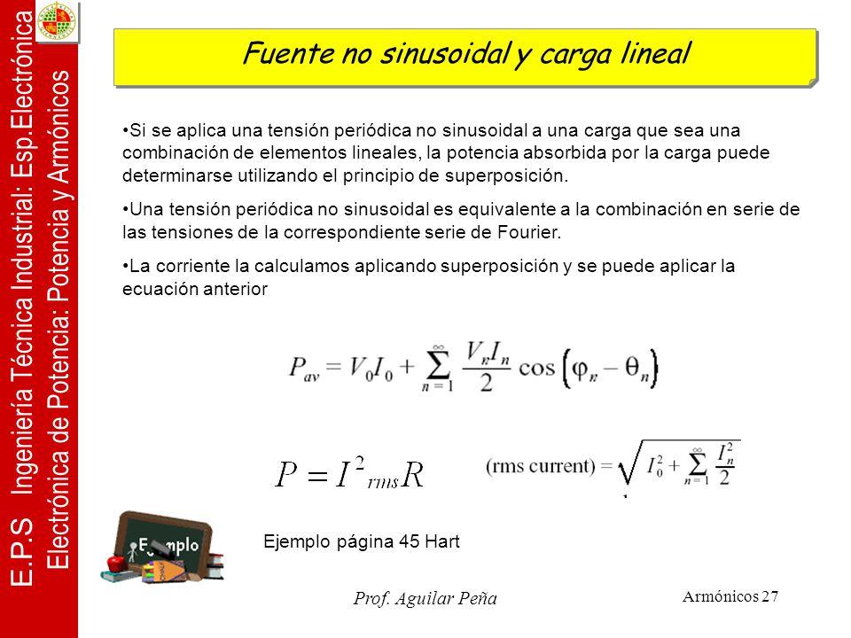 Fuente no sinusoidal y carga lineal