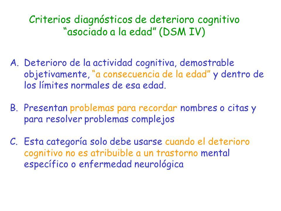 Criterios diagnósticos de deterioro cognitivo asociado a la edad (DSM IV)
