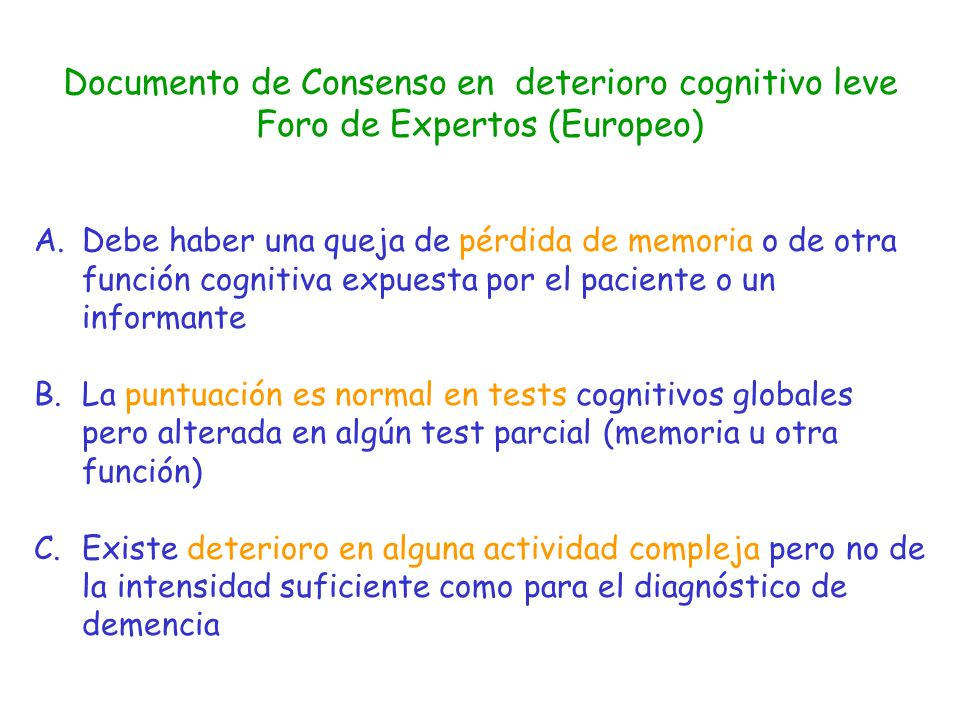 Documento de Consenso en deterioro cognitivo leve