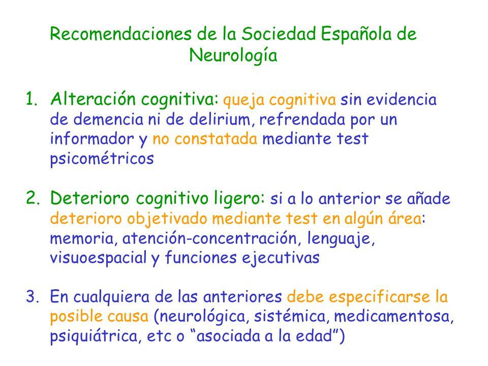 Recomendaciones de la Sociedad Española de Neurología