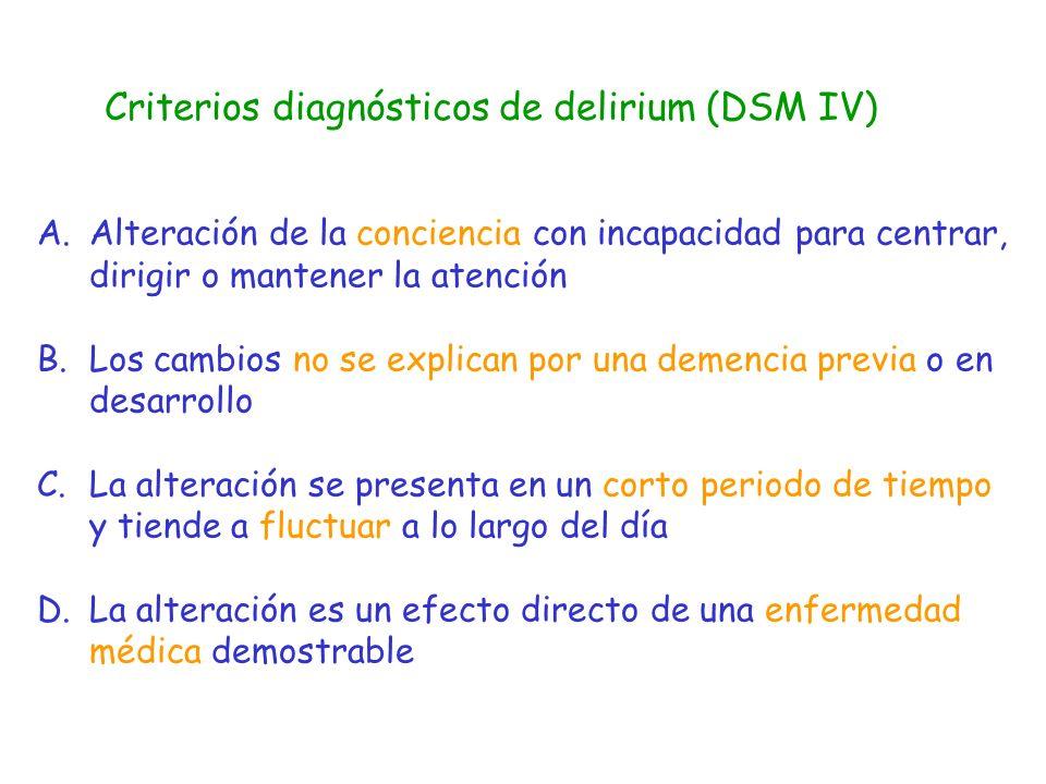 Criterios diagnósticos de delirium (DSM IV)