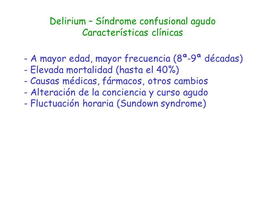 Delirium – Síndrome confusional agudo Características clínicas